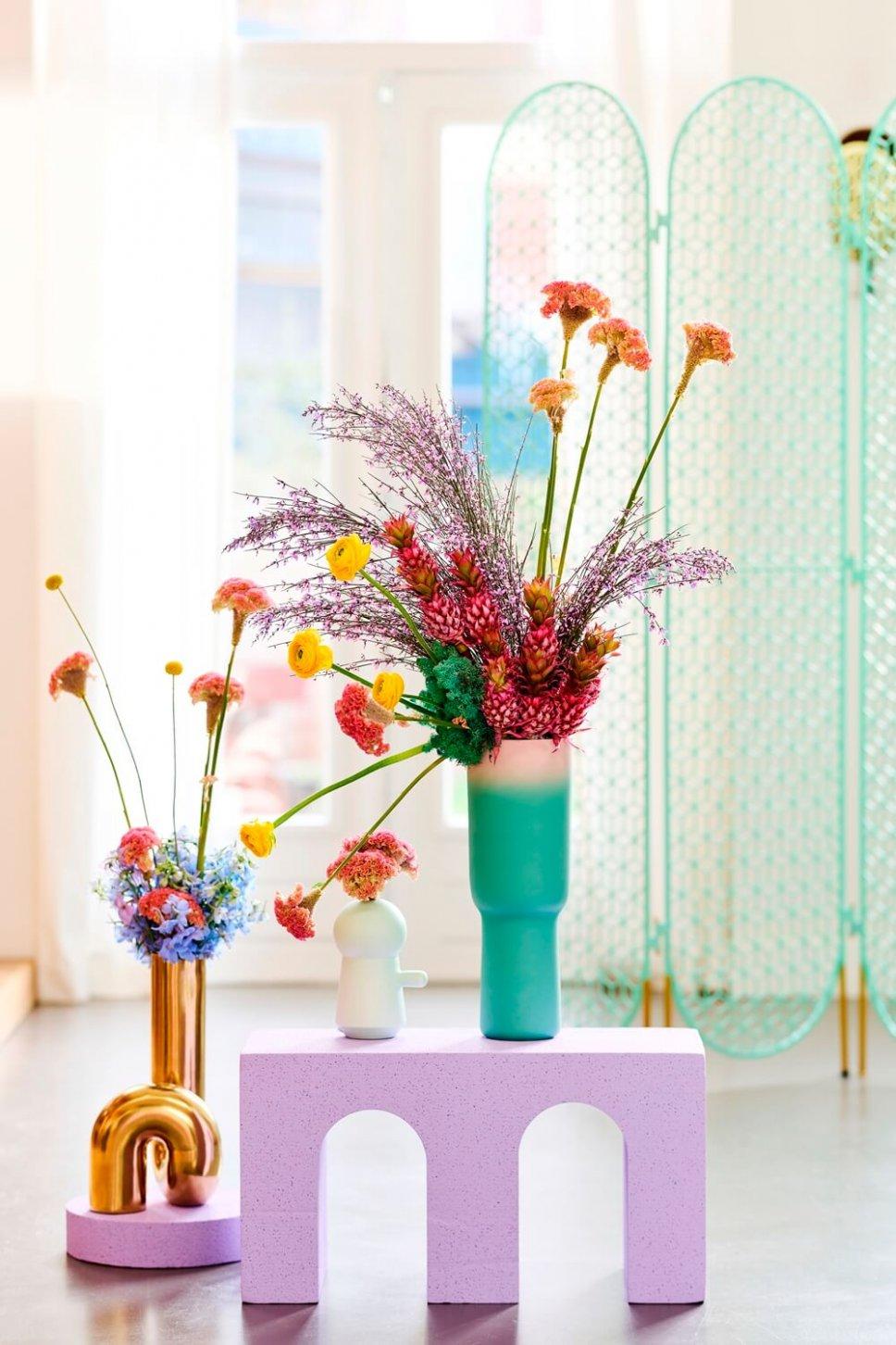 Moderner Wohnraum mit ausgefallenen Vasen, gefüllt mit Celosien