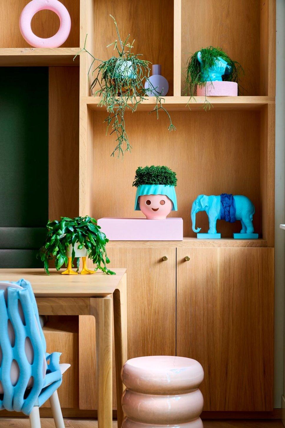 Moderner Wohnraum mit schrillen Blumenkasten gefüllt mit Zimmerpflanzen