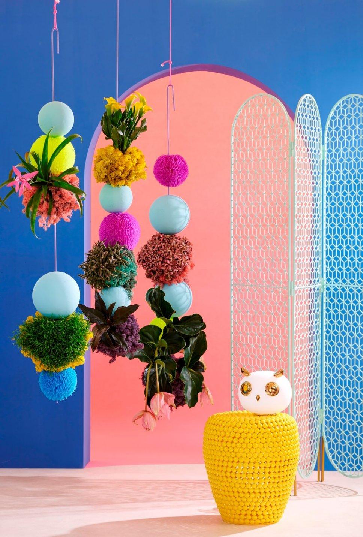 Moderner Wohnraum mit bunten Zimmerpflanzen in Hängeampeln