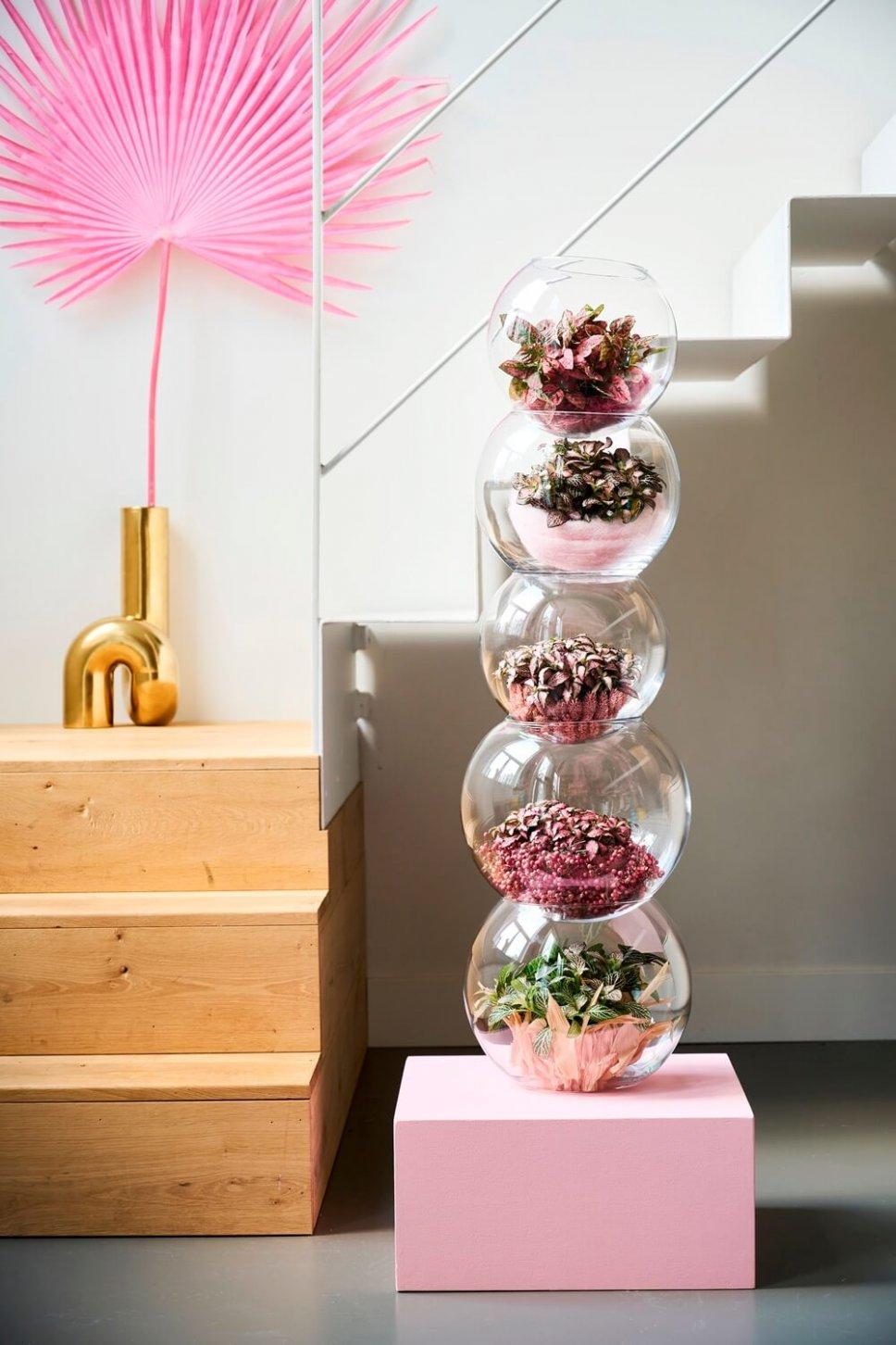 Moderner Wohnraum mit gestapelten Glaskugeln, gefüllt mit Zimmerpflanzen