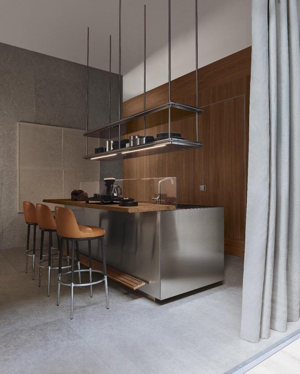 Moderne offene Küche als Raum im Raum-Konzept mit integrierter Speisekammer, Kücheninsel und Esstheke