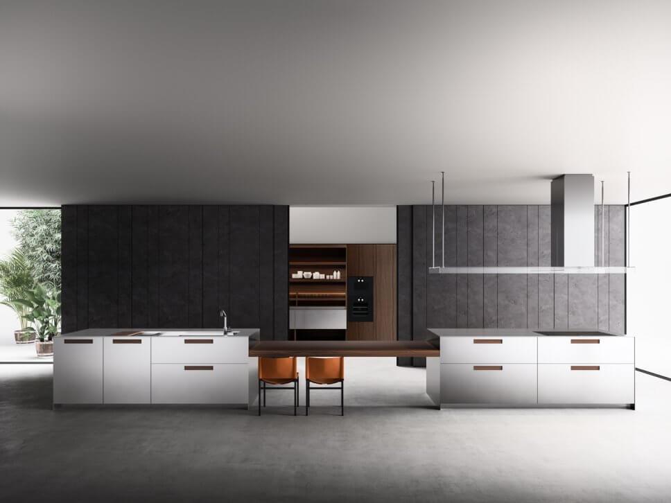Moderne offene Küche als Raum im Raum-Konzept mit integrierter Speisekammer, Kücheninsel und Esstisch