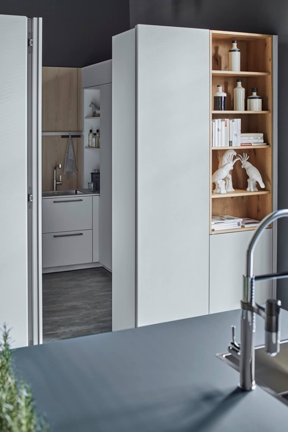 Moderne offene Küche als Raum im Raum-Konzept mit integrierter Speisekammer und Kücheninsel