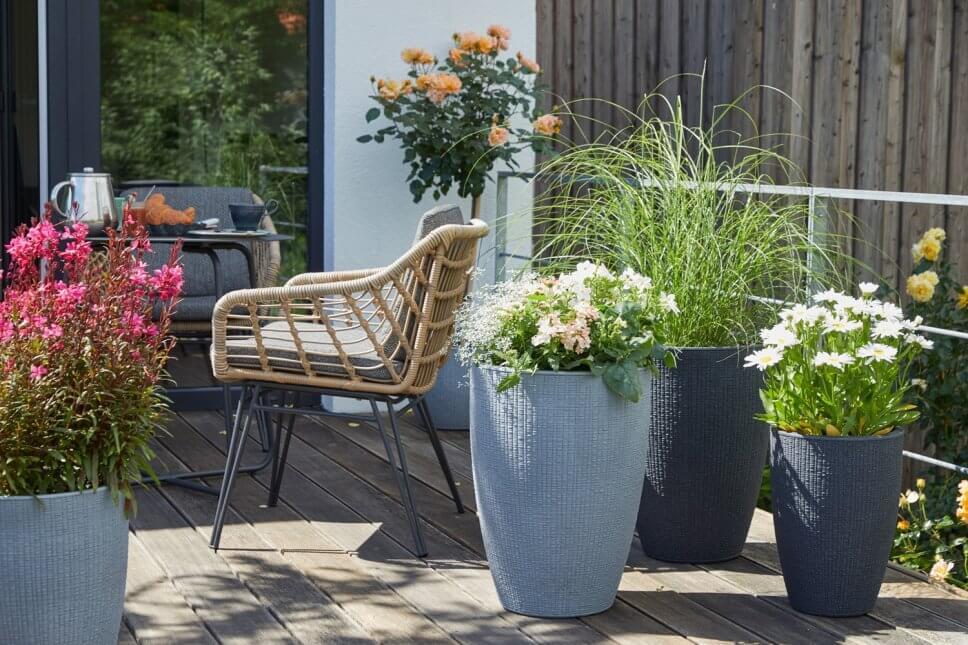 Üppig mit Kübelpflanzen bepflanzter Balkon
