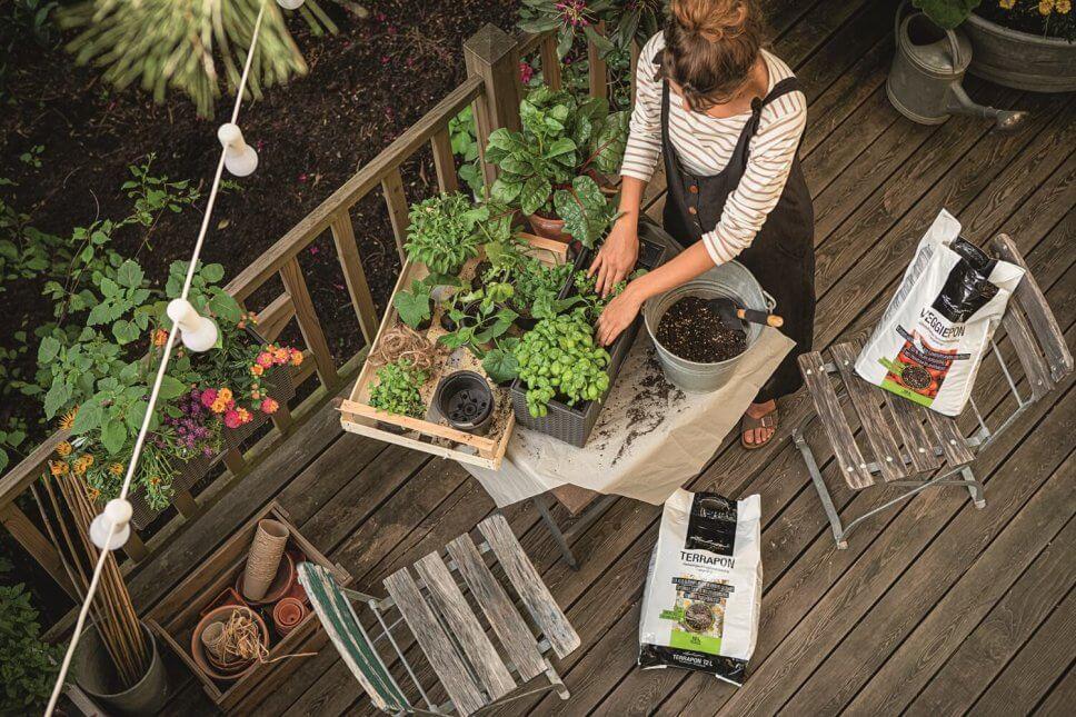 Eine Frau pflanzt auf einem üppig mit Kübelpflanzen und Balkonkasten bepflanzten Balkon