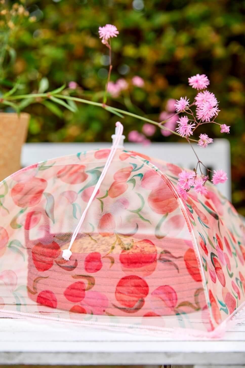 Kuchen unter Schutzhaube im Garten